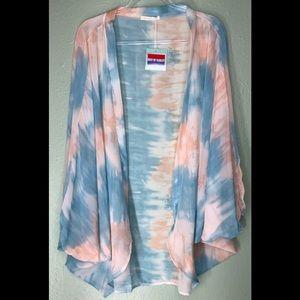 New Tie Dye Kimono One Size OSFM Blue Coral Cover